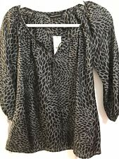 Express Silk Black & Gray Print Blouse XS 3/4 Sleeve Flowy Career Blouse NWT O