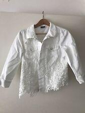 New Miss Sixty White Lace Denim Jacket Size M