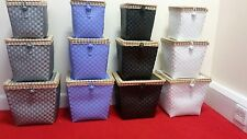 woven Hamper Storage Basket Box With Lid & Lock In 3 Size set Ideal Gift home