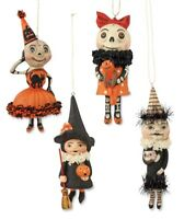 Happy Halloween Set of 4 Ornaments Debra Schoch Skeleton Witch Bethany Lowe