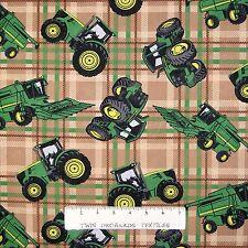 "John Deere Fabric - Green Tractor Toss on Brown Printed Plaid - Springs 25"""