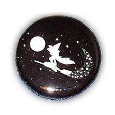 Badge Petite Sorcière BLANC sur fond NOIR magie sort witch wicca halloween Ø25mm