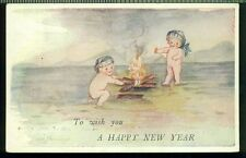 TO WISH YOU A HAPPY NEW YEAR Two Naked Babies Around Fire Vintage Postcard
