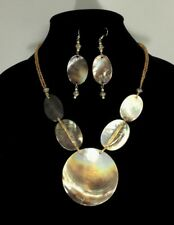 Gr8tEstates Golden Seed Bead Mother-of-Pearl Shell Statement Necklace Earrings