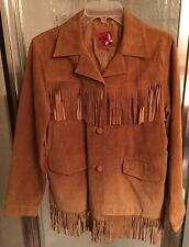 Marlboro Western brown suede leather fringe button front jacket Womens Medium