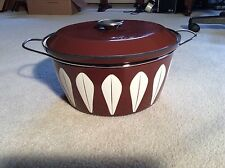 Cathrineholm Norway Chocolate Brown Lotus Enamel Dutch Oven 10 qt stock pot sgn
