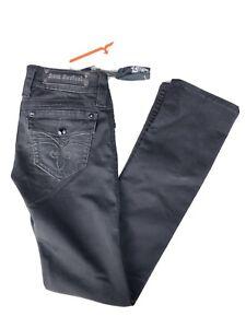 New ROCK REVIVAL CELINE Women's Straight Leg Flap Pocket Black Jeans size:26x32