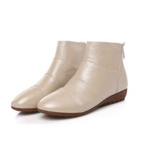 Women Chelsea Wedge Heels Flats Ankle Boots Beige Plus Size New Back Zip Shoes