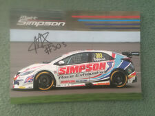 BTCC 2018 MATT SIMPSON RACING 303 SIGNED- PROMO CARD