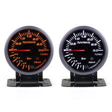 60mm LED Pointer Turbo Boost Gauge Bar Meter Black 12V 0-3Bar Vacuum Press Meter
