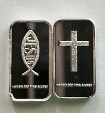 (5) 1 GRAM .999 PURE SILVER CROSS ICHTHYS JESUS CHRIST LORD GOD SAVIOR