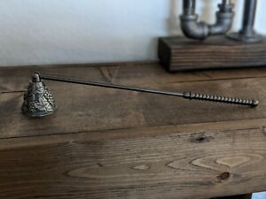 90s Vintage Silver Metal Swivel Candle Snuffer Grape Leaves Pattern Wine