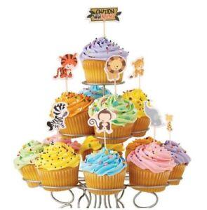 24 PCS Jungle Animals Tiger Monkey Cake Picks Party Cupcake Decorations Standup