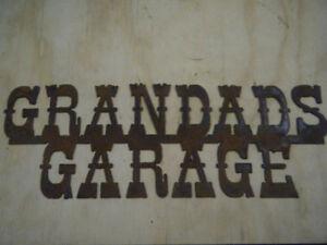 Small Rusted Rustic Metal Grandads Garage Sign/Grandpa/Papa/Papaw/Free shipping