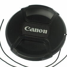 Front Lens cap 77mm center pinch snap on for Canon DSLR camera plastic w/ string