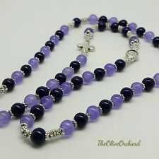 Handmade Purple Beads Inline Cross Miraculous Medal Full Stretch Rosary