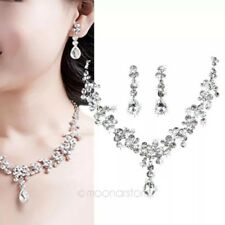 Bridal Wedding Rhinestone Crystal Cubic Necklace Earrings Jewelry Set Party