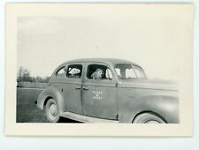 Man in military uniform in car R.C.A.S.C  vintage snapshot photo Lindsay Ontario