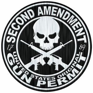 "2nd Amendment Bumper Sticker Decal Window Vinyl 1789 USA gun permit Rights 4"""