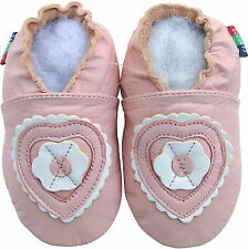 shoeszoo soft leather toddler shoes  flower pink heart 2-3y S