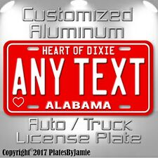 Alabama  ANY TEXT Heart of Dixie Custom Aluminum Vanity License Plate Tag New