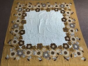"""Vintage Tablecloth Retro 60s 70s Floral  Flower Power Cream Brown Square 49x49"""""""