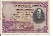 SPAIN, 50  PESETAS , 1928