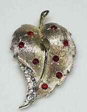 STUNNING Vintage Lisner Red & Clear Rhinestone Leaf Brooch/Pin- ESTATE