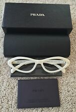 NEW IN BOX Prada White Reading Glasses Eyeglass Frames 55-16-135 #VPR 080