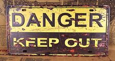 Warning Sign DANGER KEEP OUT Poster Vintage Tin Plate Wall Decor Man Cave