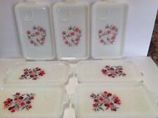 Lot Of 7 Fire King Milk Glass Snack & Tea Trays Red & Pink Fleurette Primrose Fl