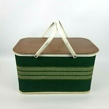 W C Redmon Picnic Basket 1970 Green Wicker Weaved Metal Handle Hinged Top Retro