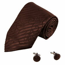 DAB1015 Sienna Stripes Microfiber Tie Cufflinks Set Fashion Necktie Dan Smith