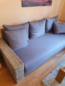 3-Sitzer-Couch Sofa Sitzgruppe Natürliches Rattan