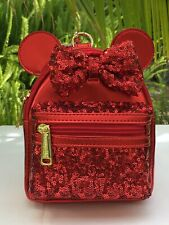 Disney Loungefly Minnie Mouse Red Metallic/Sequin Wristlet Backpack w/Belt Loop
