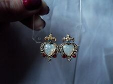 vtg Clip on screw back EARRINGS Faux opal heart crown British Royal Coat of Arms