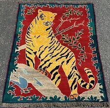 C 1930s Antique Tiger Subject Prsian Shraz Qashkai Rug 5X4 Feet