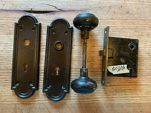Antique interior Sargent mortise lock and stamped steel door knobs and plates
