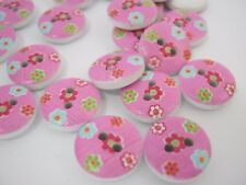 """10 Pink Floral Buttons 13mm (1/2"""") Sewing Knitting Girls Pink Clothes Buttons"""