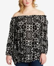 Jessica Simpson Plus Size Off-The-Shoulder Printed Tunic Top 1X Black #3028