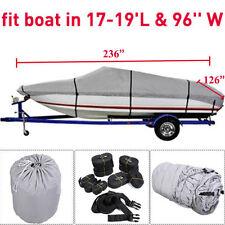"17 18 19 Ft Waterproof Trailerable V-Hull Boat Cover 95"" Beam Heavy Duty Fabric#"