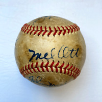 Circa 1947 NY Giants Signed Baseball. Mel Ott, Travis Jackson, Hubbell & Mize