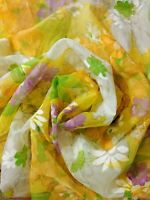 Flocked Sheer Fabric MOD Funky Purple Yellow Lime Floral Fabric PER YARD Vintage