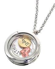 Trendy FloatiRound Floating Charms Locket Words Love Hope Faith Fashion Necklace