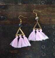 One Of A Kind Pink Tassel Triangle Brass Zebra Jasper Fringe Gold Hook Earrings