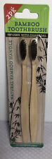 Bamboo Toothbrush x 2 Infused With Charcoal 100% Biodegradable Handle,Soft Brist