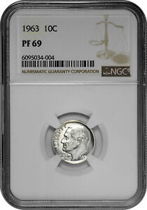 1963 10c Silver Proof Roosevelt Dime NGC PF 69