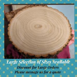Natural Wood Log Slice Tree Bark Wedding Table Centerpiece Cake Stand