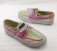 Sperry Top-Sider Women 6.5 M Pink Green Plaid Boat Shoes Non-Marking 9755802