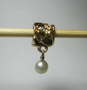 PANDORA solid 14ct 14k Gold charm ORION diamond & white Pearl dangle - 750460D